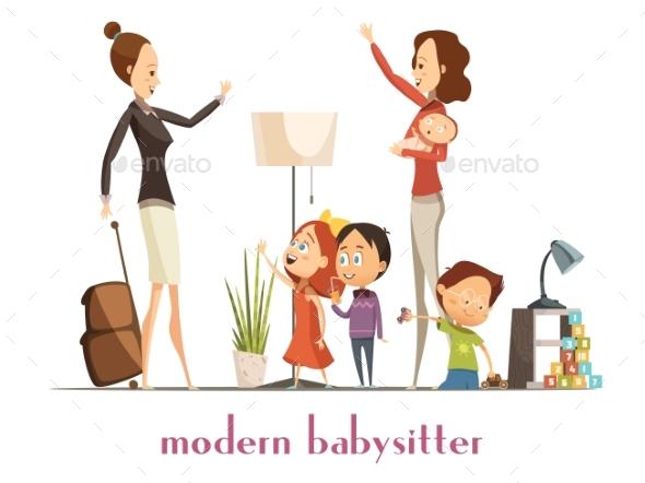 Modern Babysitter Nanny Service Cartoon
