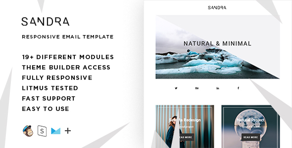 Sandra  – Responsive HTML Email + StampReady, MailChimp & CampaignMonitor compatible files