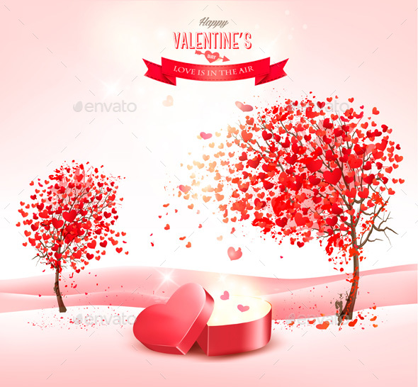 Valentine Holiday Background with Heart Shaped Tree