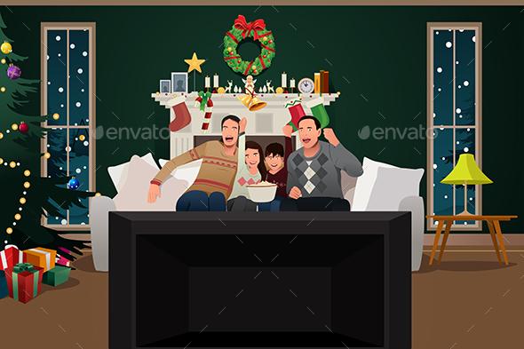 Family Watching TV During Christmas Season
