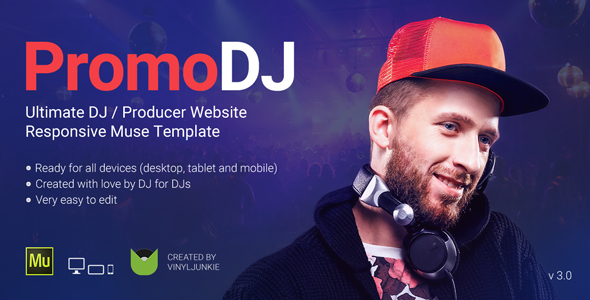 PromoDJ - DJ / Producer / Musician Website Responsive Muse Template