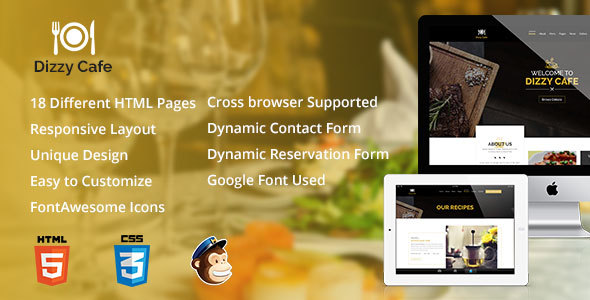 Dizzy Cafe - Responsive Restaurant/Cafe Site Template