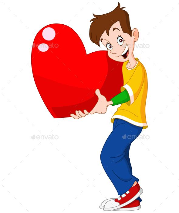 Teenager Holding Heart Valentine