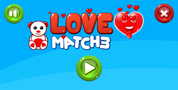 LOVE Match3 - HTML5 game. Construct 2 (.capx) + Mobile Download