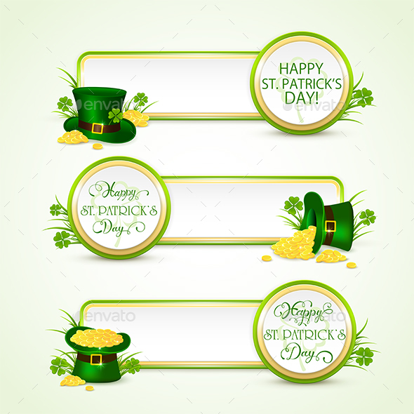 Happy Patricks Day Banners with Green Hat and Coins