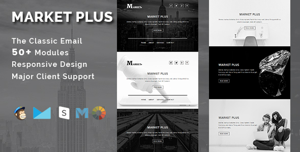 MARKET PLUS - Multipurpose Responsive Email Template With Stamp Ready Builder Access