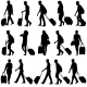 Black Silhouettes Travelers with Suitcases - GraphicRiver Item for Sale