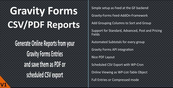 Gravity Forms CSV/PDF Reports