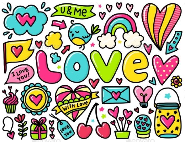 Doodle Valentines Elements