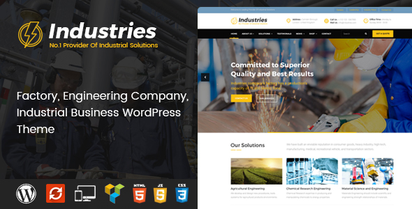 Industries - Factory and Industrial Business WordPress Theme