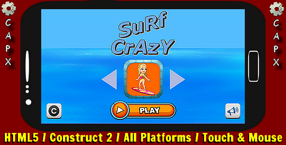 Surf Crazy | HTML5 Game - Construct 2 CAPX Download