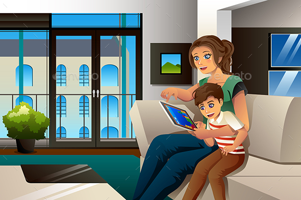 Mother and Son Playing Game on Tablet PC