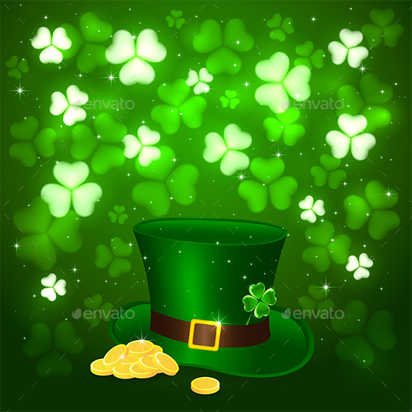 Patrick Day Background with Clover and Hat Leprechauns
