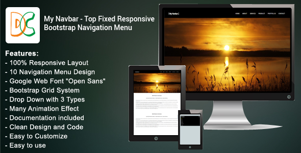 My Navbar - Top Fixed Bootstrap 3 Navigation Bar