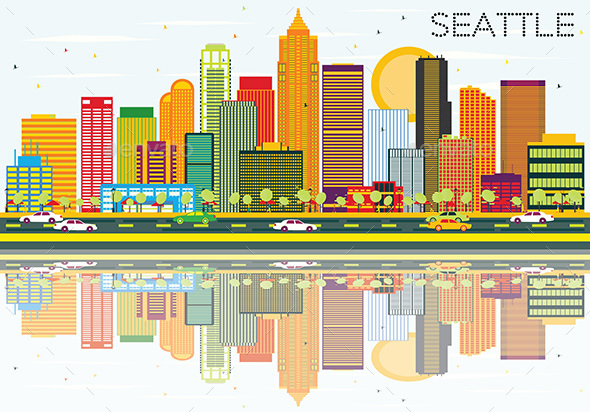 Abstract Seattle Skyline with Color Buildings and Reflections.