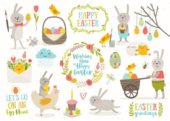Set of Easter Greetings and Characters