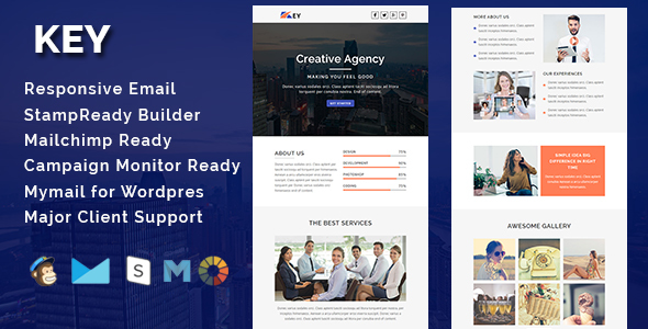 KEY - Multipurpose Responsive Email Template With Stamp Ready Builder Access