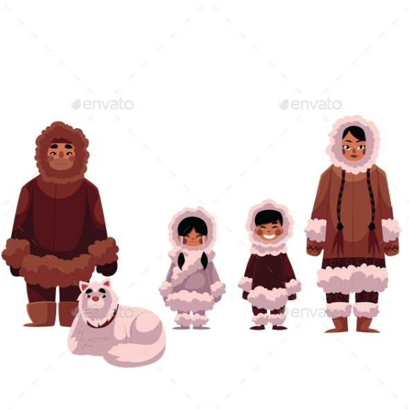 Eskimo, Inuit Family of Father, Mother and Kids