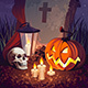 Halloween Pumpkin and a Tombstone on the Night Sky Background - GraphicRiver Item for Sale