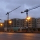 Construction Cranes in the City Center in the Evening - VideoHive Item for Sale