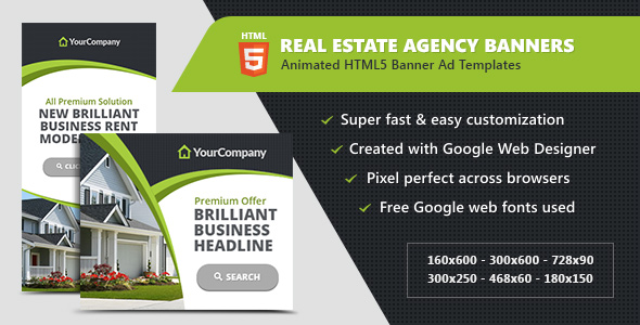 Real Estate Agency Banners - HTML5 Ad Templates Download