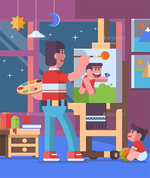 Father Painting Pictures with Child