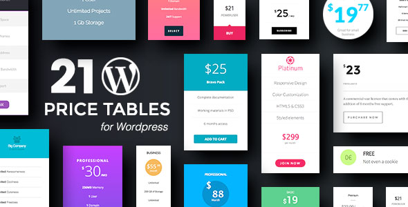 Wordpress Price Tables Plugin with Layout Builder