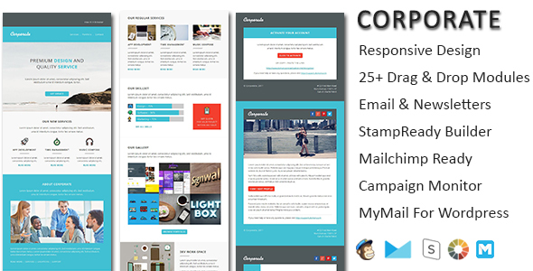 Corporate – responsive email newsletter templates with online Stampready & Mailchimp Builders Access