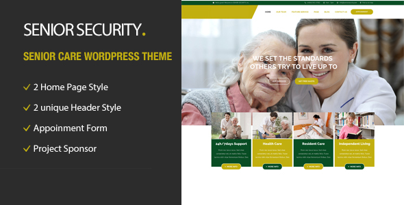Senior Security - Senior Care WordPress Theme