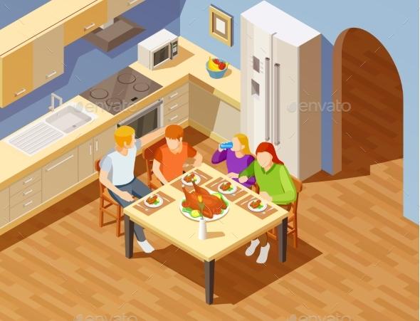 Family Dinner in Kitchen Isometric Image