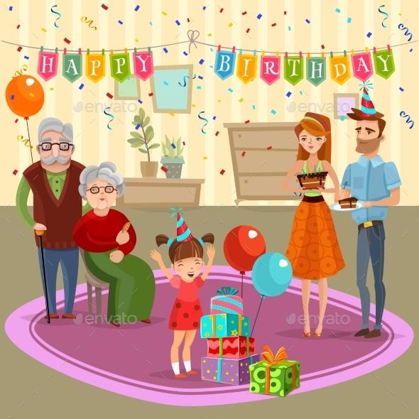 Family Birthday Home Celebration Cartoon