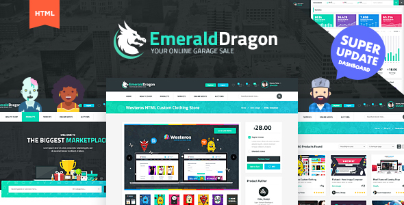 Emerald Dragon Digital Marketplace HTML Multipurpose Template V2.0