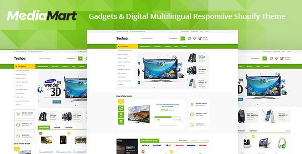 MediaMart - Electronic, Computer, Gadgets & Digital Multilingual Responsive Shopify Theme