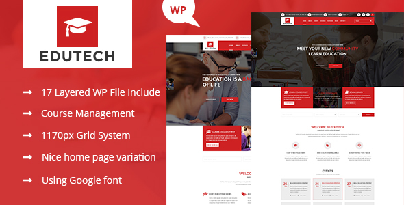 Edutech - Education, Course, Event & University WordPress Theme