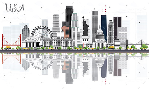 USA Skyline with Gray Skyscrapers, Landmarks and Reflections
