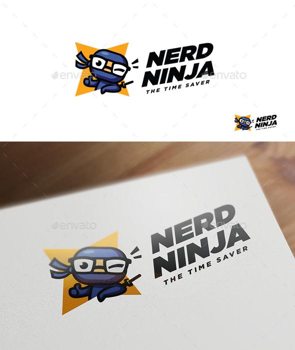 Nerd Ninja - Ninja Character Mascot Logo