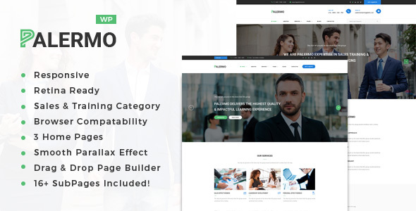 Palermo – Business Consulting and Professional Services WordPress Theme Free Download