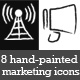 8 Urban Hand-Painted Marketing Icons Black & White - GraphicRiver Item for Sale