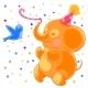 Festive Joyful Elephant and a Bird - GraphicRiver Item for Sale