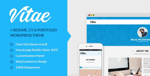 Vitae: Resume, CV & Portfolio | Personal WordPress Theme with Shop