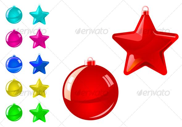 Glossy holiday balls and stars