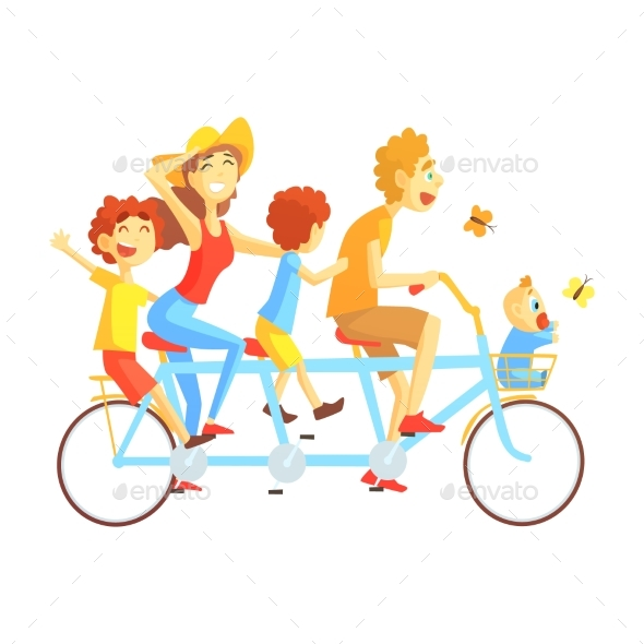 Parents and Kids on Triple Seat Bicycle Riding