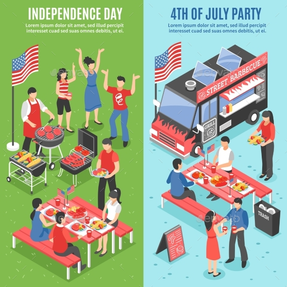 Barbecue 4th of July Banner Set