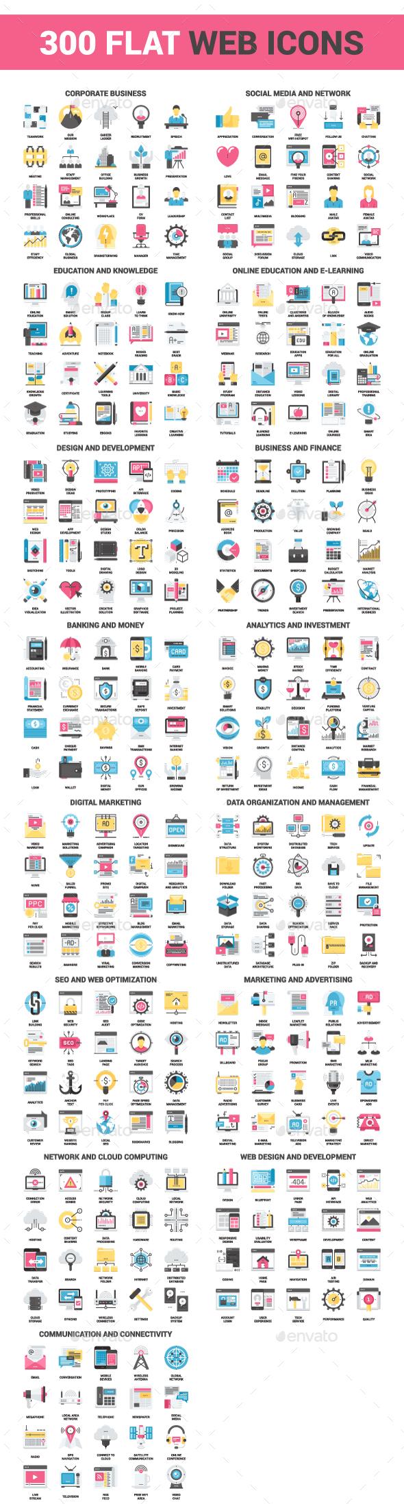 300 Flat Web Icons Bundle
