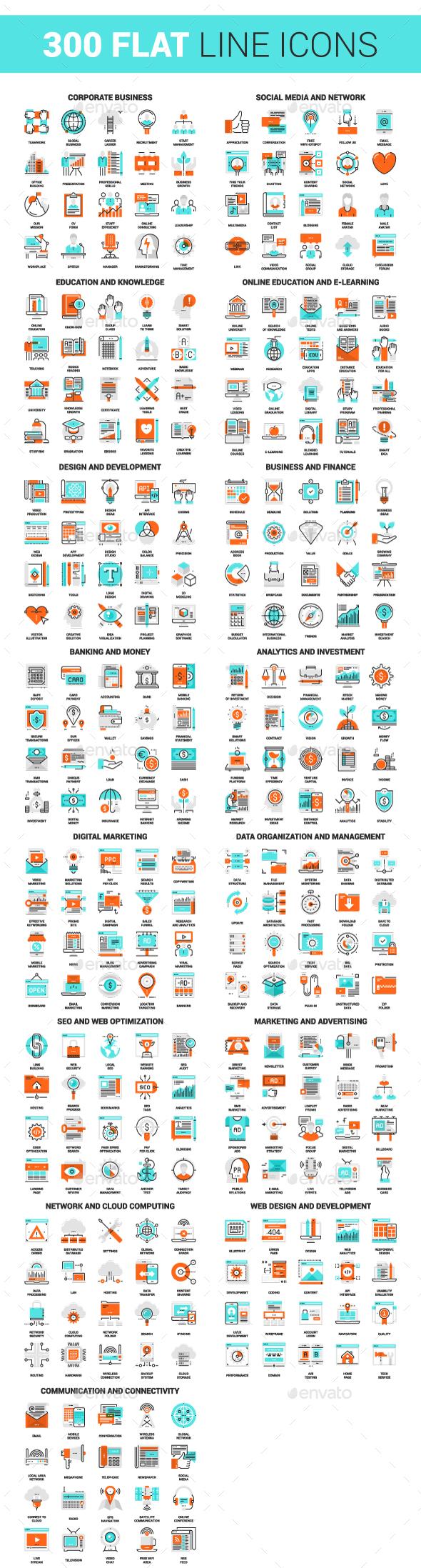 300 Flat Line Icons