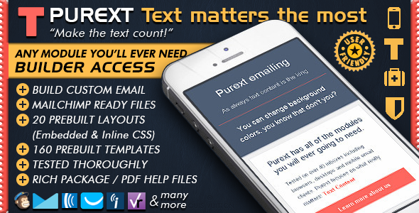 Pure Text Responsive Email Templates + Mailchimp Editor Ready