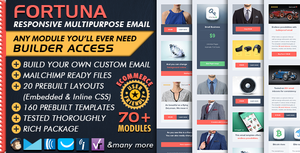 Ecommerce Email Builder - FORTUNA - Mailchimp Editor Ready