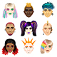 Original Youth People Faces Icons Vector Set - GraphicRiver Item for Sale