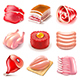Raw Meat Icons Vector Set - GraphicRiver Item for Sale