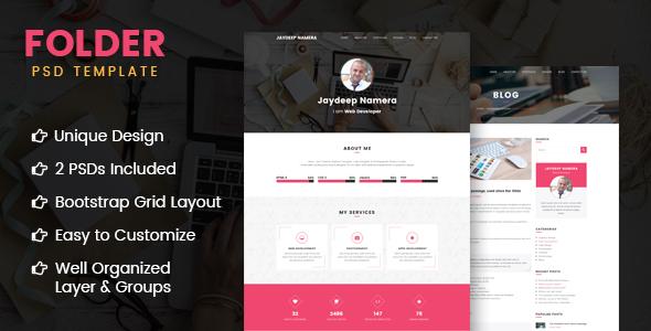 Folder -  Freelancer One Page Portfolio & Resume PSD Template